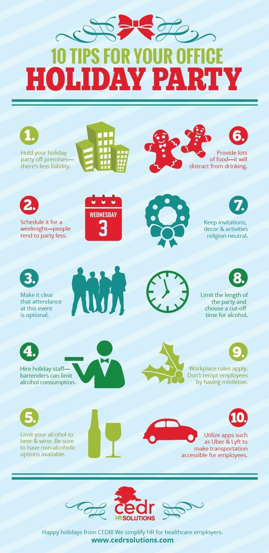10 tips for your office holiday party a cedr hr infographic 10 holiday party tips a cedr hr infographic