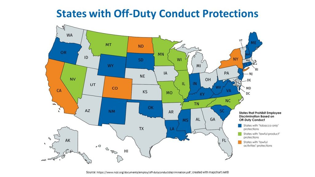 A map of the US showing the 29 states that offer employees protections for legal off-duty conduct