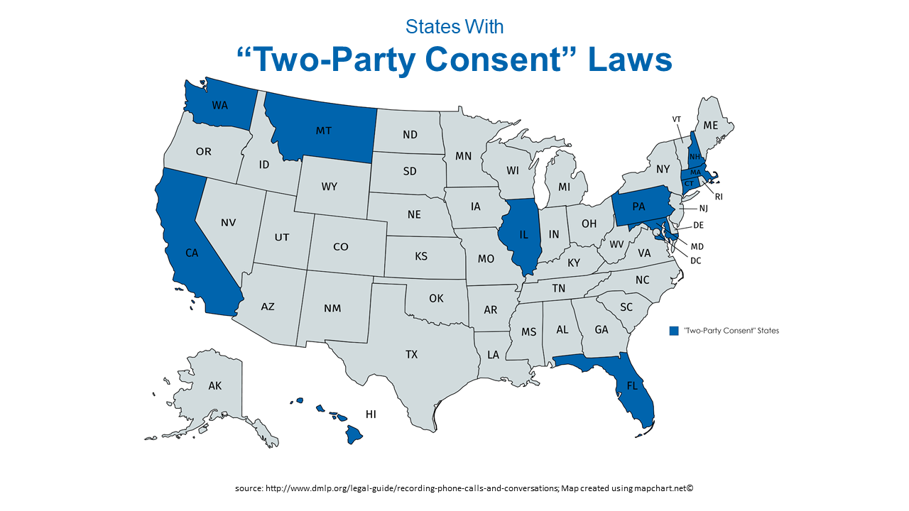 map showing 11 states with two-party consent laws; CA, CT, FL, IL, MD, MA, MT, NH, PA, WA, & HI