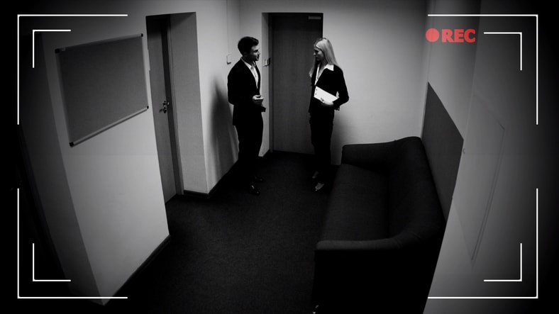 Two employees chatting on security camera