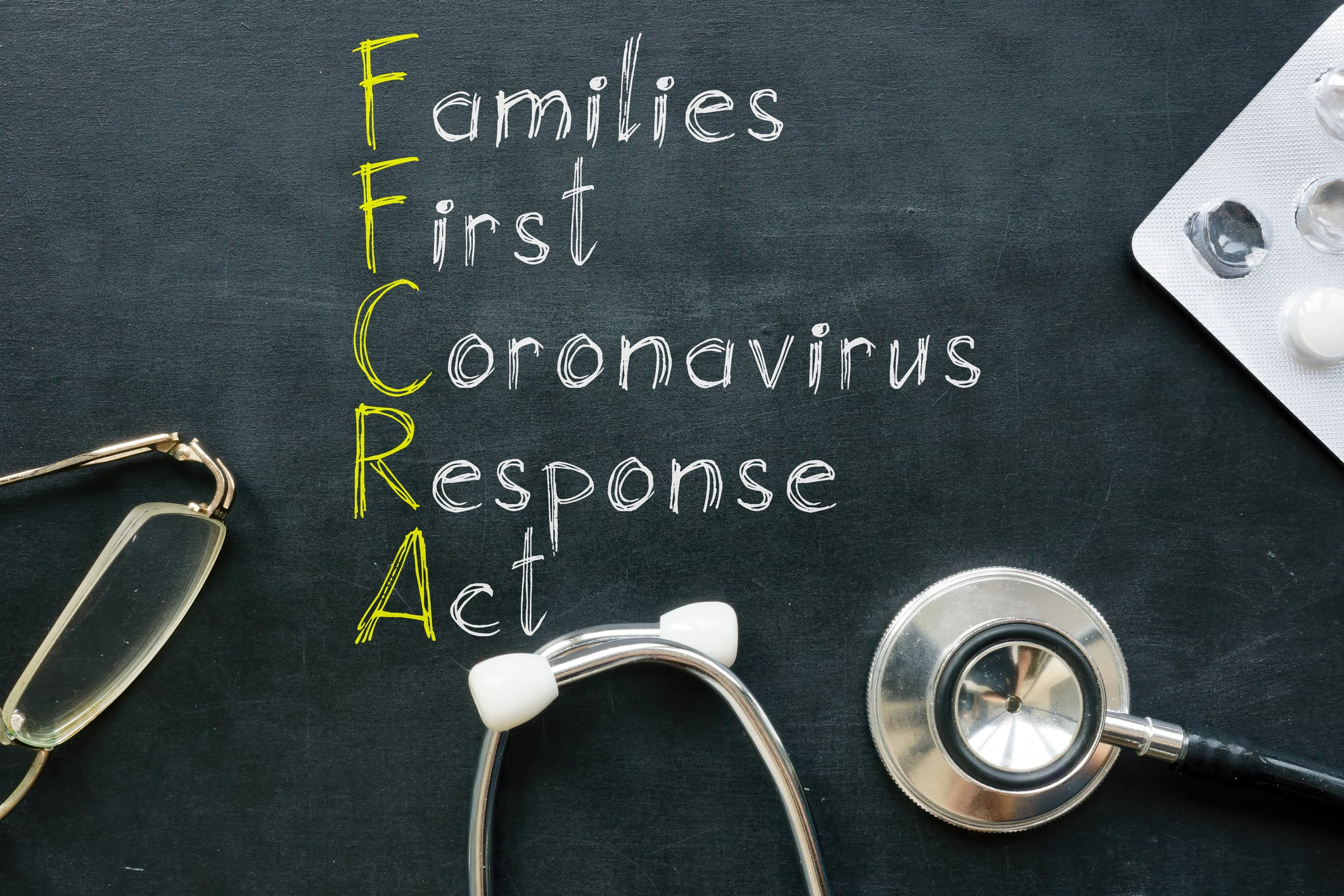 Families First Coronavirus Response Act FFCRA is shown on a photo